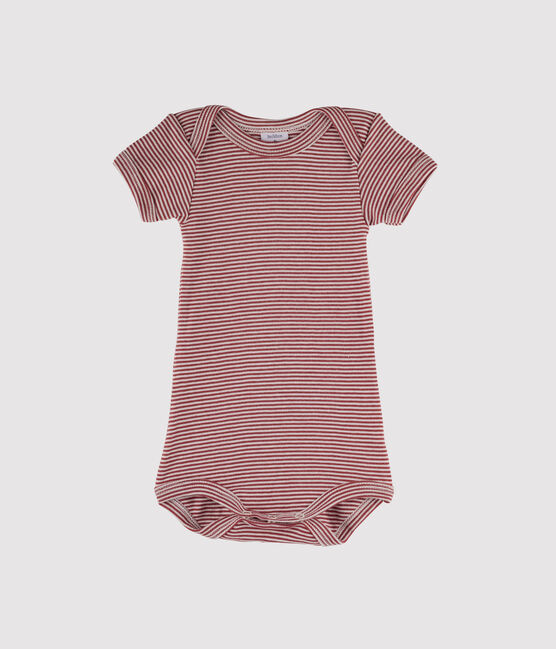 Body manica corta bebè maschietto rosso Carmin / bianco Marshmallow
