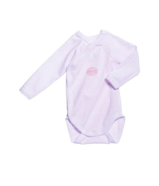 Body neonata maniche lunghe millerighe rosa Vienne / bianco Ecume