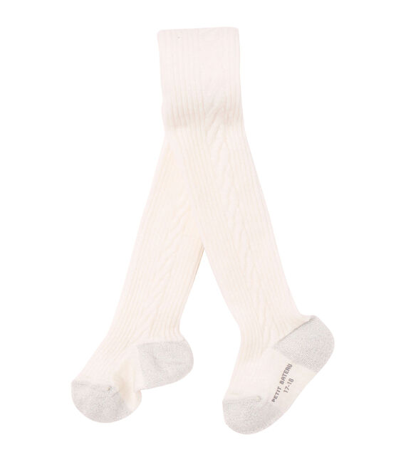 Collant per bambina in misto lana beige Coquille