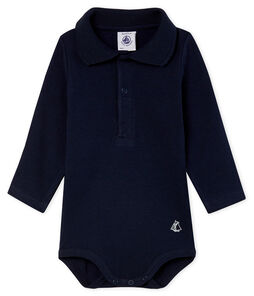 Body manica lunga bebè maschietto con colletto a polo blu Smoking