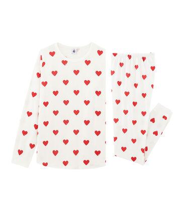 Pigiama ragazza-donna a costine bianco Marshmallow / rosso Terkuit