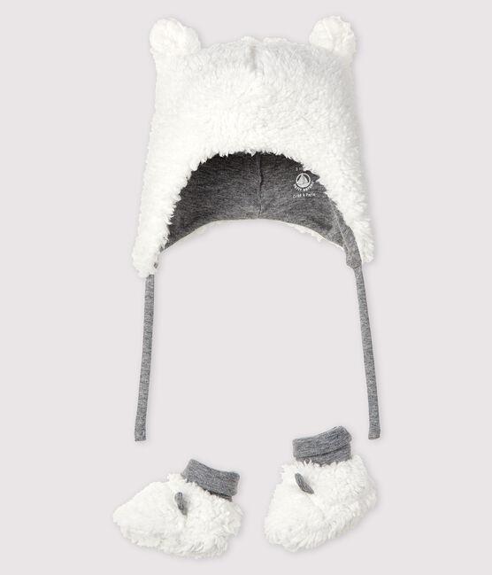 Confezione cappellino nascita e babbucce bebè in sherpa lotto .