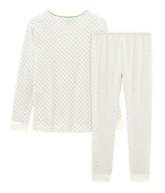 Pigiama bambina a costine modello molto aderente bianco Marshmallow / bianco Multico