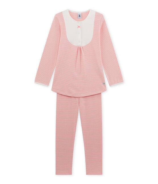 Pigiama per bambina millerighe rosa Gretel / bianco Lait