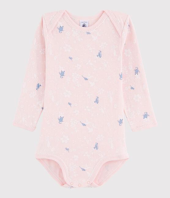Body manica lunga bebè femmina rosa Minois / bianco Multico
