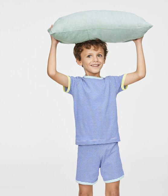 Pigiama corto bambino a costine blu Pablito / bianco Marshmallow