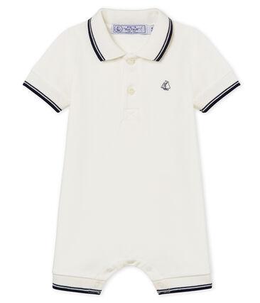 Tutina corta polo bebè maschio bianco Marshmallow