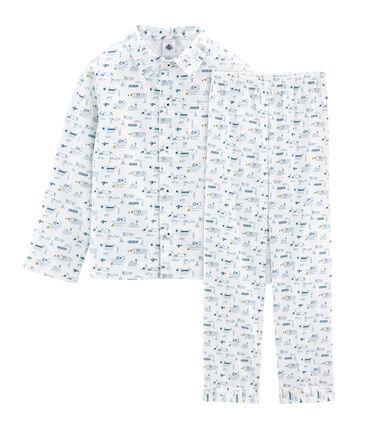 Pigiama bambino in tela bianco Marshmallow / blu Shadow