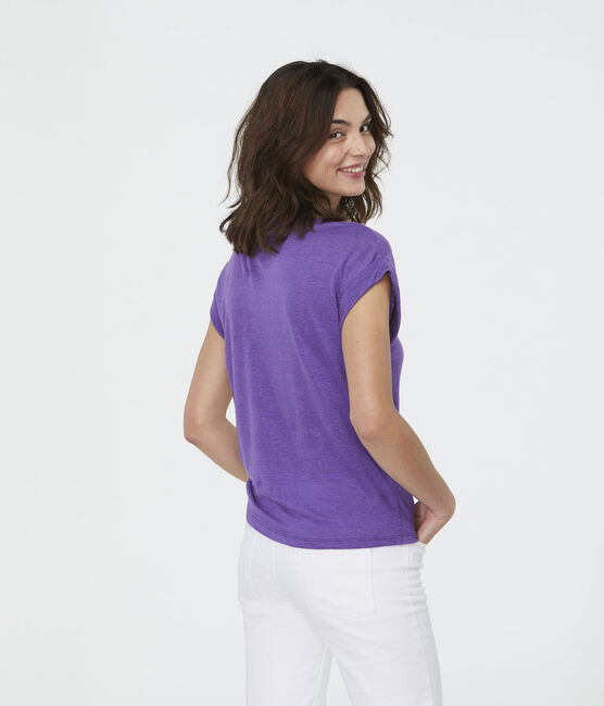 T-shirt in lino donna viola Real