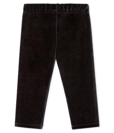 Pantalone bebè maschio in maglia di velluto nero Noir