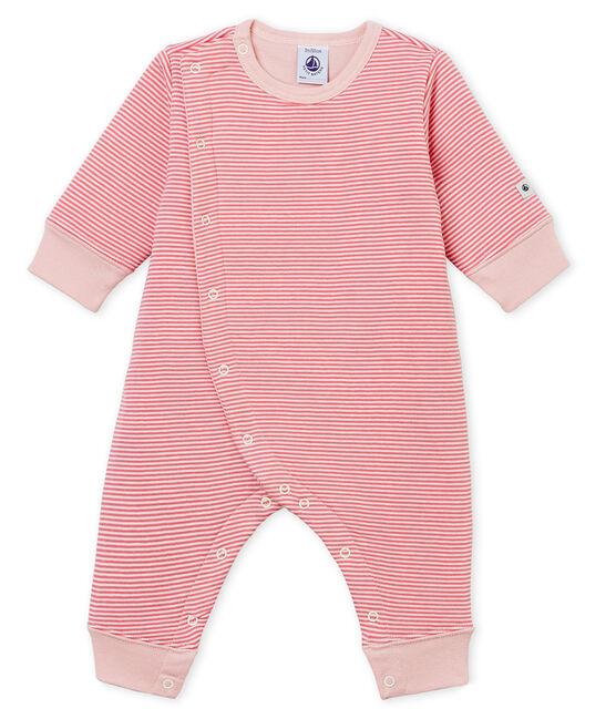 Tutina pigiama senza piedi in tubique da neonato rosa Cheek / bianco Marshmallow