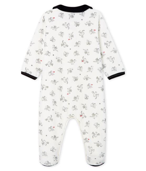 Tutina bebé maschio in ciniglia bianco Marshmallow / bianco Multico