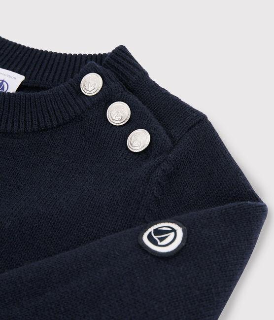 Pullover in lana e cotone bambino blu Smoking