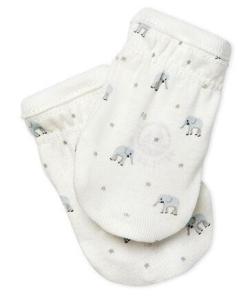 Paio di muffole a costine, il tessuto emblematico di Petit Bateau. bianco Marshmallow / bianco Multico