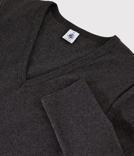 T-shirt iconica scollo a V donna grigio City Chine