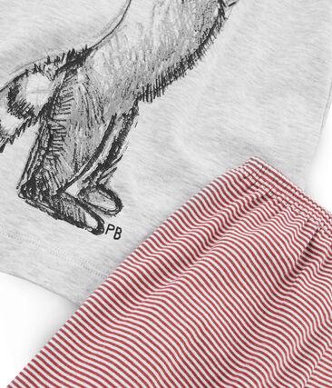 Pigiama corto bambino a costine grigio Beluga / bianco Multico