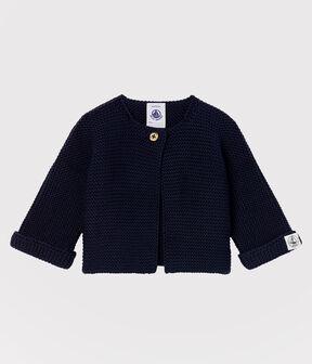 Cardigan bebè in tricot di cotone biologico blu Smoking