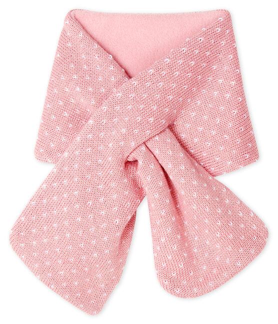 Sciarpa bebè unisex foderata in pile rosa Charme / bianco Marshmallow