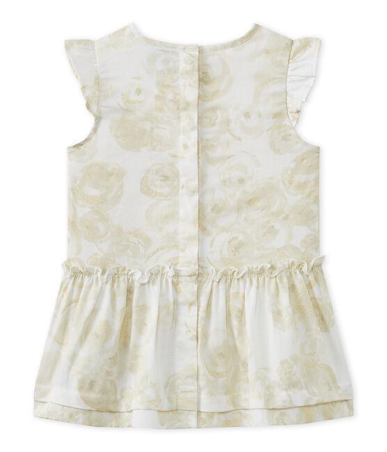 Abito bebè bambina in raso stampato bianco Marshmallow / bianco Multico