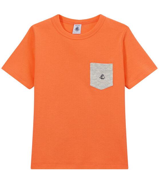 T-shirt bambino con tasca sul petto arancione Orient