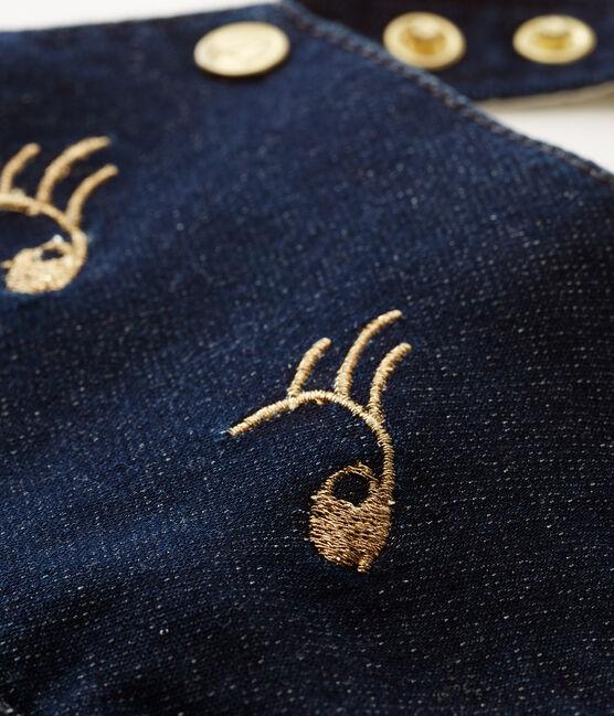 Salopette corta in maglia neonata blu Medieval / beige Ecru Cn