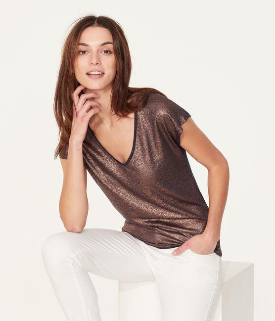 T-shirt maniche corte donna in lino cangiante blu Smoking / rosa Copper