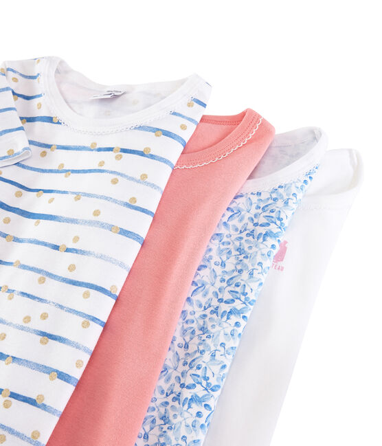 Pochette a sorpresa di 4 t-shirt maniche corte bambina lotto .