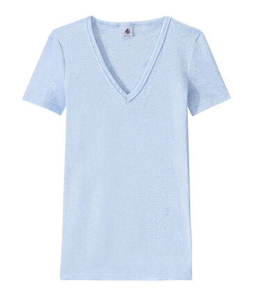 T-shirt donna scollo a V In costina originale 1X1 blu Cumulus Chine