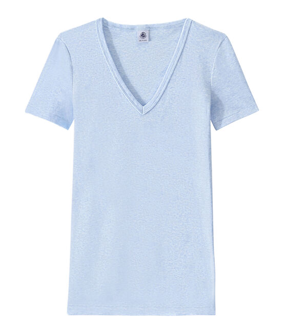 T-shirt donna scollo a V In costina originale 1X1 blu Cumulus Chine