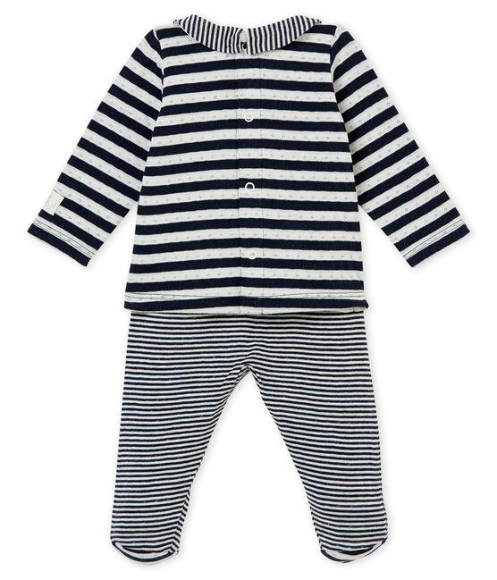 Coordinato due pezzi per bebé unisex in tubique rigato blu Smoking / bianco Marshmallow
