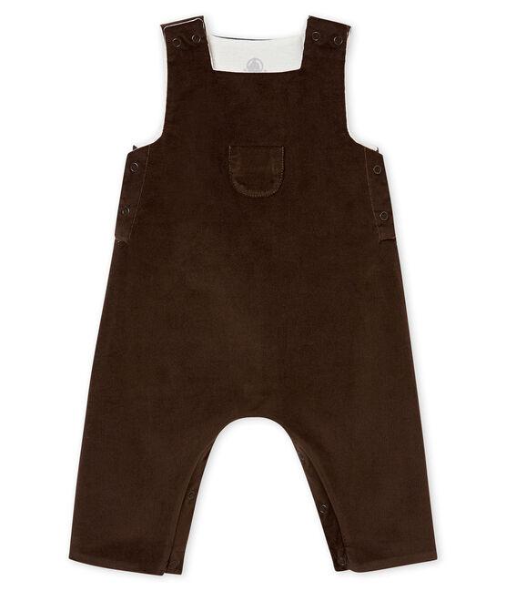 Salopette in velluto sottile per bebé maschio marrone Pepper