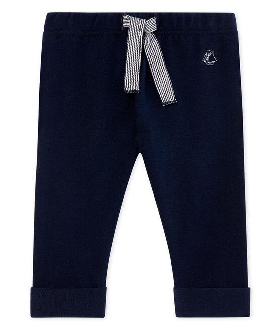 Pantalone maschietto in molleton leggero a tinta unita blu Smoking