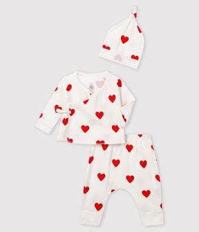 Completo regalo cuori rossi bimba a coste bianco Marshmallow / rosso Terkuit