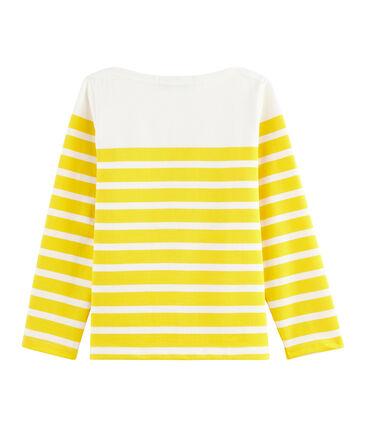 Maglia alla marinara in jersey bambina bianco Marshmallow / giallo Shine
