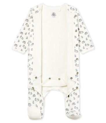 Bodyjama bebè maschio in ciniglia bianco Marshmallow / bianco Multico
