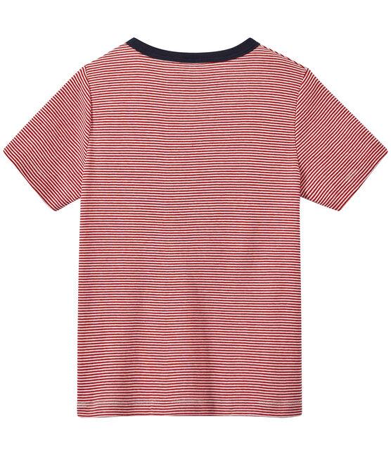 T-shirt bambino millerighe rosso Terkuit / bianco Marshmallow