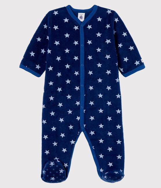 Tutina imbottita a stelle bebé in pile blu Medieval / bianco Marshmallow