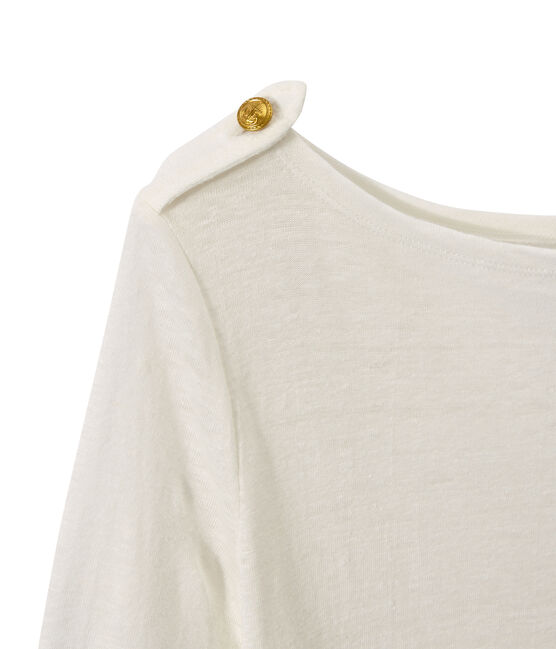 T-shirt donna in lino bianco Lait