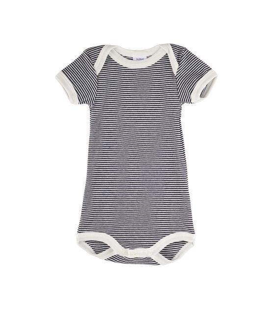 Body manica corta bebè femmina - maschio blu Smoking / bianco Lait