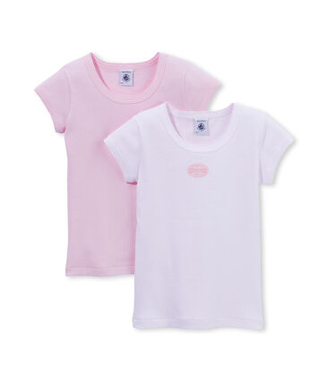 Confezione di 2 t-shirts bambina tinta unita/millerighe lotto .