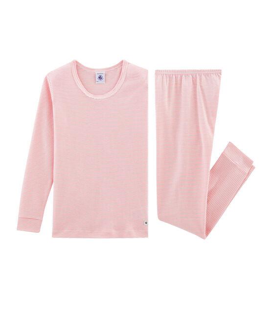 Pigiama bambina a costine modello molto aderente rosa Charme / bianco Marshmallow