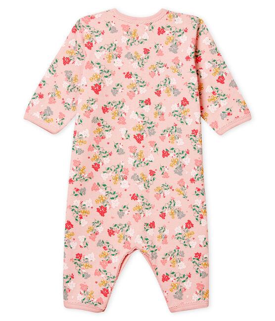 Morbida tutina pigiama senza piedi da neonata rosa Joli / bianco Multico