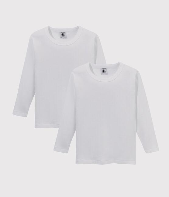 Confezione da 2 t-shirt manica lunga bianche bambino lotto .