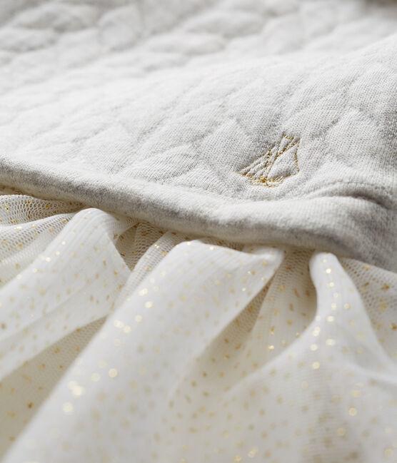 Abito bi-materiale a maniche lunghe da neonata. grigio Beluga
