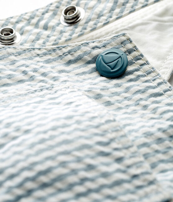 Salopette corta rigata bambino blu Fontaine / bianco Marshmallow