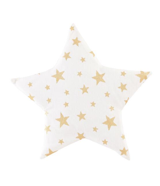 Cuscino a costine bebè bianco Marshmallow / giallo Or