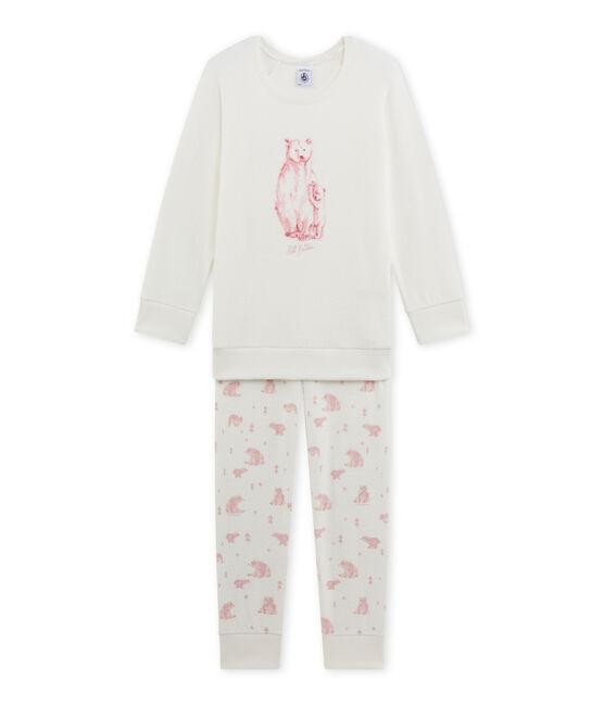 Pigiama per bambina in spugna bianco Lait / rosa Vienne