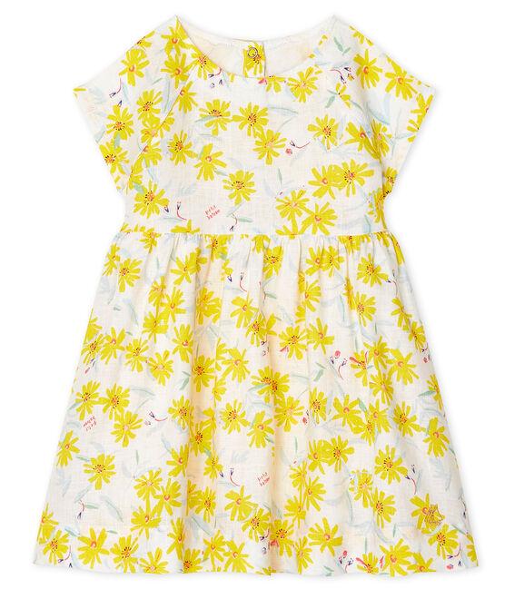Abito a manica corta bebè femmina in lino bianco Marshmallow / bianco Multico