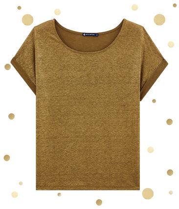 tee-shirtdonna maniche corte in lino luccicante