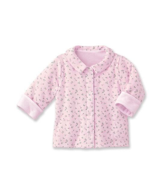 Giacca bebé unisex imbottita reversibile a millerighe - Vecchia collezione rosa Vienne / bianco Ecume